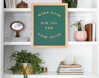 KIT: Green Magnetic Letter Board with Gold Letters