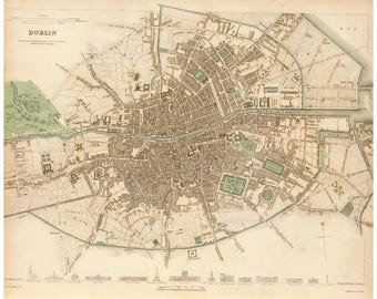 Dublin, Ireland; Antique Map; Vintage Cartography 1836