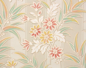 1930s Vintage Wallpaper by the Yard - Green Pink and Yellow Leaves and Flowers