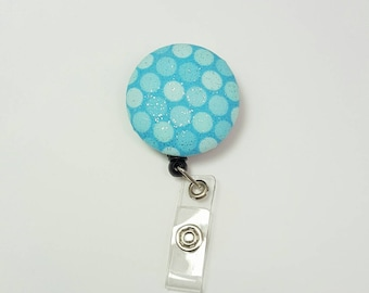 Retactable ID Badge Reel / ID Badge Holder / Name Badge Clip / Badge Pull / Button Badge Holder - Sparkling Aqua Dots