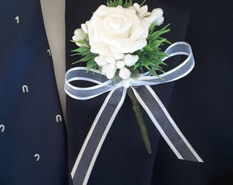 White boutonniere,  White wedding,  White prom boutonniere