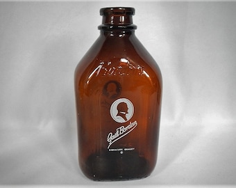 Vintage Gail Borden Dairy Half Gallon Glass Milk Bottle - 1950s- amber, signature quality- milkman, retro, kitchen decor, farmhouse, 2 quart