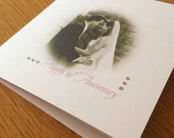 Anniversary Photographic Card - Pink-White - Personalized for you