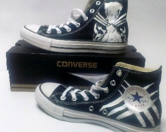 Hugh Jackman as Wolverine Fanart Hand Painted Converse All Star HiTop Sneakers Black M+W Sizes Canvas