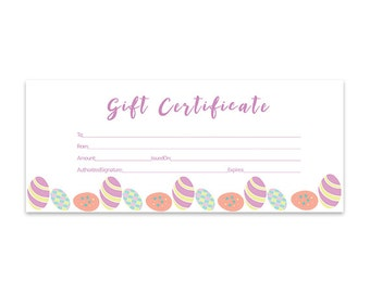 Items similar to plaid green plaid gold gift certificate download easter eggs blank gift certificate download premade gift certificate gift certificate template negle Gallery