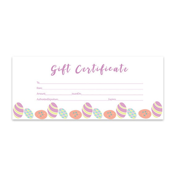 Items similar to Easter Eggs Blank Gift Certificate ...