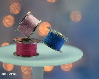 Pink and Blue Still Life Photography, Sewing Room Art, Serwers GIft, Bokeh, Color Photography, Vintage Bobin Photo, Fine Art Photography