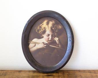 Vintage Oval Frame MB Parkinson Cupid Asleep Print