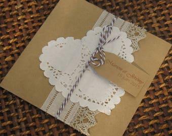 Full range kraft and lace wedding invitation Kit: wedding lace. -50 invitations