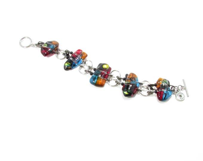 Bracelet / verre fusion / épingles / bijoux / métiers d'art / LapareBijoux