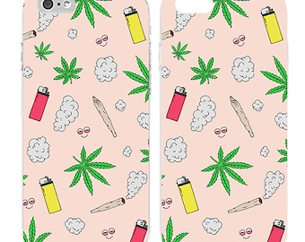 Weed - Weed phone case - Weed pattern - Cute - Funny - Teenager - Weed theme - Teengift - Light orange background|ARI-084-SLIM-PERFCASE