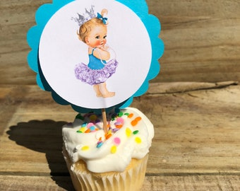 Personalized Baby Shower Cup Cake Toppers African American Princess Caucasian Princess