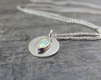 Opal necklace Minimalist necklace opal jewelry simple silver necklace Dainty opal necklace gift for bridesmaids Minimal jewelry gift for her