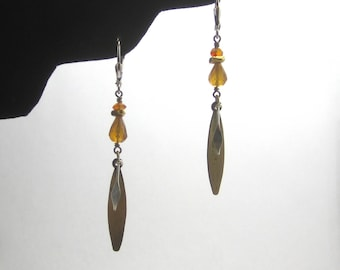 Hessonite Garnet and Carnelian Sterling Silver and Brass Dangle Earrings