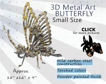 SMALL Metal Art Butterfly, Steel Art Butterfly, Garden Art Butterfly by Brown-Donkey Designs