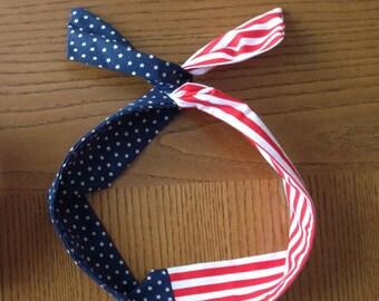 American Flag Dolly Bow, Fourth of July Wire Headband, Twist Headband