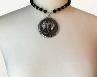 Black Quartz Beaded Necklace With Silver-Plated Black Brazilian Agate Pendant (Adorned w/ Rhinestone Elephant) - NoWeL Designs