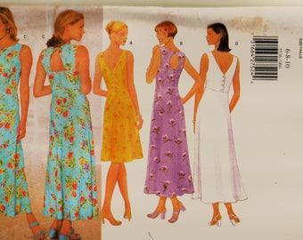 Retro Butterick Pattern 5536 Empire Waist Key-Hole Back Sundress Sz 6-10 Uncut FF Summer Dress Sewing Patterns Sew Supplies