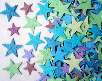 100 Plantable Seed Confetti Stars - Peacock Colors - Flower Seed Plantable Paper Stars - Wedding Favors - Yellow Stars option - Custom color