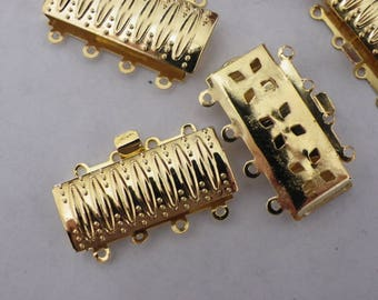 box 2 clasps in gold brass rectangle 16 mm x 26 mm x 5 for 4 rows