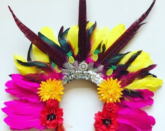Rio Mardi Gras Feather Carnival Festival Floral Head Dress Statement Head Piece Flower Crown