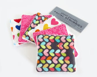 Face Scrubbies - Set of 6 - Colourful Hearts - Planet-Friendly Makeup Remover Pads