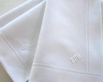 Set of 3 White Fine Cotton Mens Monogrammed Handkerchiefs, Christmas Gift for him, 2nd Anniversary Gift, Mens Handkerchiefs Set