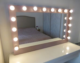 Hollywood lighted vanity mirror large makeup mirror with xl hollywood mirror 43 x 27 rose gold vanity mirror aloadofball Choice Image