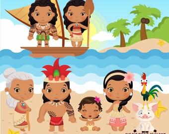Moana Clipart, Disney Moana, Princess Moana Clipart, Moana party, Moana Costume, Polynesian princess