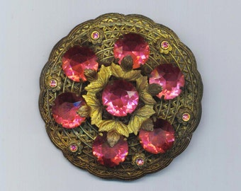Vintage Victorian 50s Brooch . Antique Gold Filigree . Gorgeous Swarovski Faceted Rhinestones - Elegant Romance by enchantedbeas on Etsy