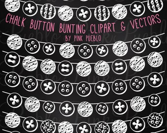 Chalkboard Button Bunting Clip Art Clipart, Chalk Flag Banner Bunting Clipart Clip Art Vectors - Commercial and Personal Use