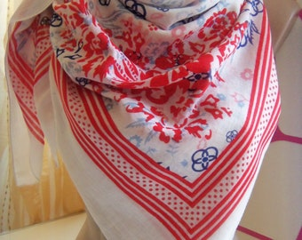 Vintage Cellbes of Sweden Cotton scarf White whit red & blue Flower pattern,Square