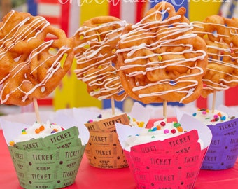 Raffle Ticket Cupcake Wrappers -- DIGITAL Printable -- For Circus, Fair, or Carnival Party