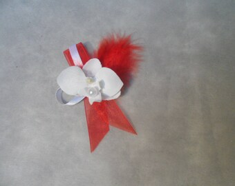 Boutonniere - PIN for wedding - red and white with Orchid