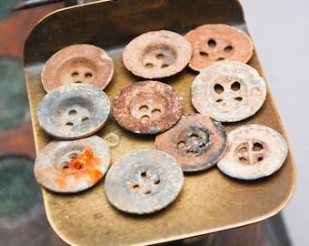 Set of 10 Antique original different buttons (n02)