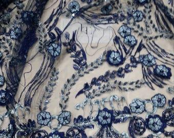Blue Lace fabric French Lace, Alencon Lace, Bridal lace, 3d lace, Wedding Lace, Garter lace, Pearl lace, Sequin Lace, Beaded lace LUX9110
