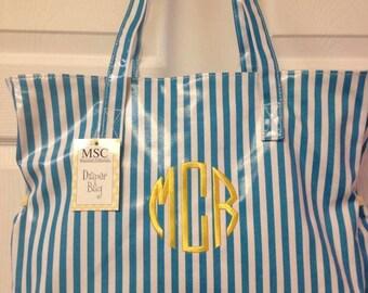 Diaper Bag - Monogrammed Blue Stripes