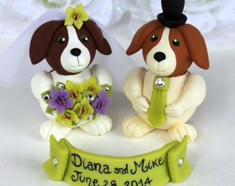Dog wedding cake topper, beagles bride and groom, lime green wedding, orchid bouquet