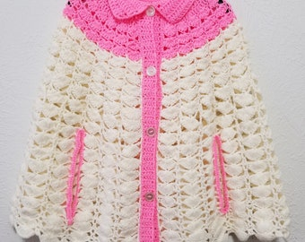 Handmade Womens Crocheted Cape - One Size Fits Most - Pink & Ivory Shell Pattern