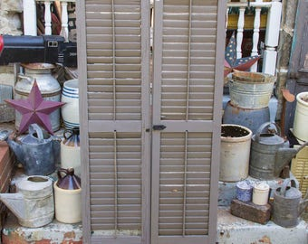 Large pair of Vintage Shutters, 67'' long x 17'' wide, Reclaimed Barn Wood Door, Louvered Shutter doors, Long Architectural SALVAGE ANTIQUES