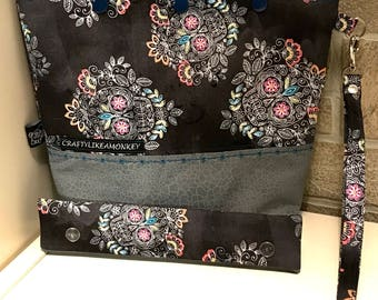 Rainbow sugar skull snap top project bag with flat bottom and knitting needle cozy - ready to ship