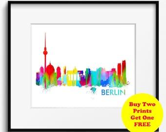 Berlin Skyline Watercolor Art Print (302) Cityscape Germany