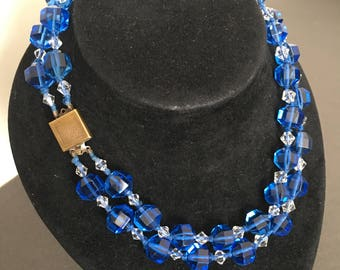 ART DECO BEAD Necklace Sapphire Blue Glass Double Strand with Clear seperators vintage
