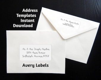 """Printable Address Template for Envelope Labels - Avery 2 x 4"""" & 1 x 2-5/8"""" - Wedding, Christmas, etc. - Instant Download Digital File PDF"""