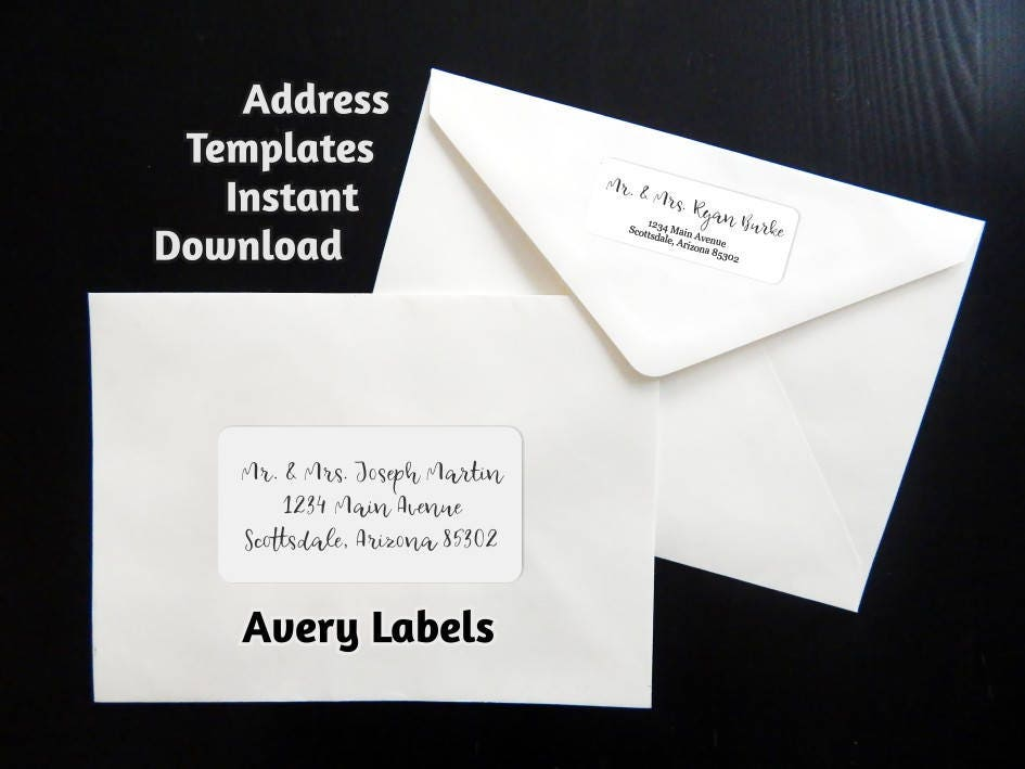 printable address template for envelope labels avery 2 x 4 1 x 2 58 wedding christmas etc instant download digital file pdf