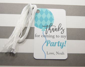 Personalized Birthday Balloon Tags, Thank You Tags, Party Favor Tags, Aqua Balloon Tags, Set of 8