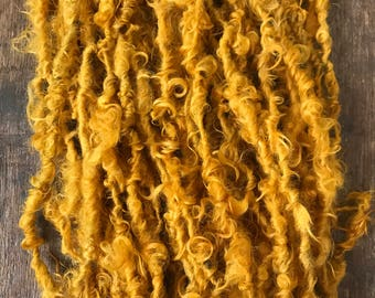 Honey Mustard, 20 yards handspun yarn, rich mustard yellow art yarn, lockspun yarn, curly handspun yarn,