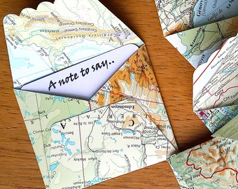 Mini Map Envelopes / Travel Theme Gift Card- 6 Atlas Note cards- Travel Theme Wedding / Party - Map Gift Tag -  Travel Party  Decor
