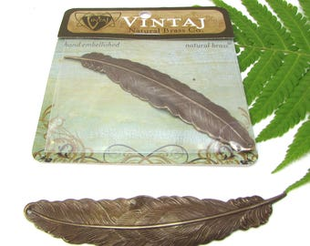 Feather Pendant, Vintaj Natural Brass Feather, 88x18mm Tall Feather Pendant, Genuine Vintaj Jewelry Supplies, Made in the USA, Item 1502v