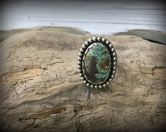 Number 8 Mine Turquoise Sterling Silver Ring - Size 9
